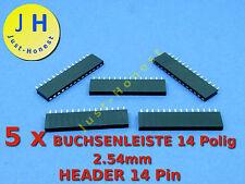 Stk.5x BUCHSENLEISTE  / HEADER 14 polig 2.54mm Arduino bauweise / style #A202