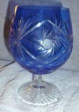 Vintage Cut to Clear Glass Centrepiece / Footed Bowl ~  Blue Bohemian