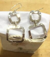 Sterling Silver Plated Mexico Alpaca Hammered Earrings Hand Crafted Fair Trade