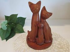 CARVED WOOD SIAMESE CAT TRIO Family SCULPTURE STATUE NASSAU BAHAMAS
