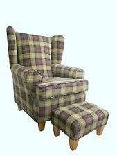 PLUM TARTAN FABRIC WINGED BACK CHAIR/ FIRESIDE CHAIR WITH MATCHING FOOTSTOOL