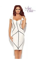Stunning BNWT Amy Childs Lipsy Ribbed Bodycon Size 12 Bandage Dress White Black