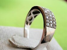 10K Solid White Gold Triple Row Diamond Band Sparkling Women's Ring Size 9.25