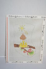 Stocking with Angel  Christmas Star Needlepoint Canvas Handpainted