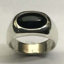 MJG STERLING SILVER MEN'S RING. 14 x 10mm OVAL BLACK ONYX CABOCHON. SIZE 10.