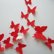 3D RED BUTTERFLY WALL ART DECAL SET OF 12 (BRAND NEW)