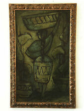 LARGE Mid Century 'WOMAN CARRYING URN'J Austin Vintage Oil Painting Green Tones