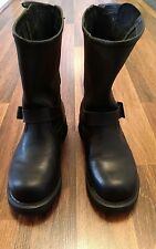 Womens Size 8 Milwuakee Black Leather Motorcycle Riding Boots