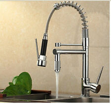 Modern Chrome Brass Pull Out Spring Kitchen Faucet Deck Mounted Sink Mixer Tap