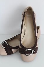 CLARKS Women's Ladies Brown Beige Flat Slip On Ballerinas Shoes Size UK 6