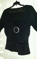 JAIPUR EMBELLISHED BLACK Cocktail Evening Blouse Top w/ Rhinestones Womens Large