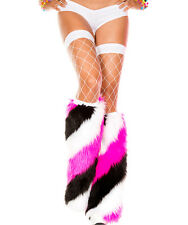 ML-5540 Sexy Diagonal Stripe Faux Fur Leg Warmer Gogo Raver Rave Dancer Clubwear
