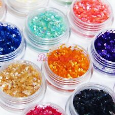 12 Nail Art Crushed Shell Glitter Gem Bead Powder Decorate 3D Acrylic UV Gel Set