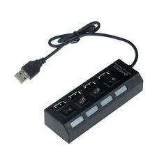 USB 2.0 4 Puertos Power En/Apagado Interruptor LED Hub para PC Notebook Portátil