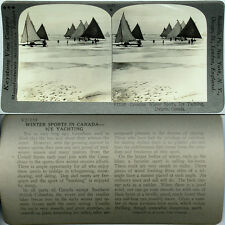 Keystone Stereoview of ICE YACHTING in Ontario, CANADA From 600/1200 Card Set