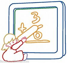 Colorline Back to School 10 Machine Embroidery Designs on CD 2 size 4x4 5x7 hoop