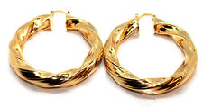 Pair Womens 9ct Gold Filled Twist Creole Oversized Round Hoop Earrings Jewelry