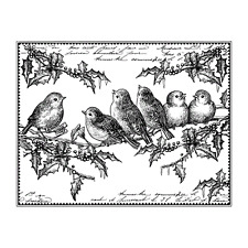 Crafty Individuals JOLLY HOLLY ROBINS Unmounted Red Rubber Stamps