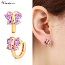 Kids 18K Yellow Gold GF Butterfly Claw Purple Amethyst Huggie Hoop Earrings 1cm