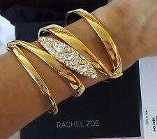 Women's Rachel Zoe Gold Plate Crystal Large Cuff Bracelet NEW IN BOX $295