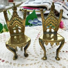PAIR OF QUIRKY c1950s BRASS GOTHIC STYLE MINIATURE THRONE CHAIRS - FREE UK P&P!