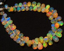Natural Ethiopian Opal Super Fine Quality Rainbow Fire Teardrop Briolettes 6""