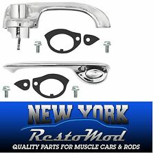 1968-1969 Chevelle Outside Door Handles Exterior New Chrome Complete with Button