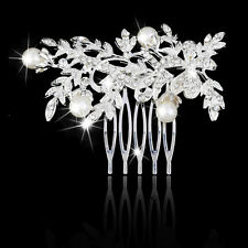 Wedding Pearl Flower Rhinestone Hair Comb Elegant Bridal Comb Jewelry NEW