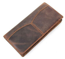 Men's Long Wallet Genuine Leather Cowhide Bifold Checkbook Travel Wallet
