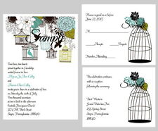 100 Personalized Vintage Birdcage Turquoise Black Floral Wedding Invitations Set