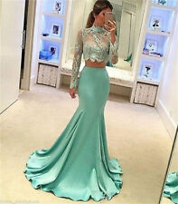 2016 New Long Sleeve Two Piece Prom Dress Mermaid Pageant Formal Evening Gown