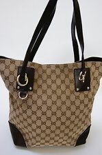 Authentic Gucci Women's  GG Canvas Brown Leather Tote Bag Wallet