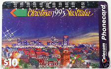 Vintage CHRISTMAS 1993 AUSTRALIA Telecom Picture Phone Card $10 Used & Clipped