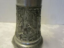 W GERMAN PEWTER TABLE LAMP HUNTING SCENE leather shade GES GESCH