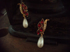 Vintage Marquise Navette Ruby Red Crystal and Pearl Drop  Pierced Earrings