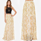 New Daisy Floral Print High Waist Floor Party Colorful Pleated Hip Long Skirt B