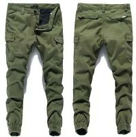 2016 NEW Men Baggy Relaxed Skinny Trousers Cargo Overalls Mid-rised Pants Casual