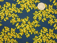 Quilting Fabric Yellow Periwinkle Flowers Dark Blue BG 100% Cotton Fat Quarter