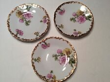 3 T & V Tressemann & Vogt Limoges France Hollyhock Plates Gold Trim 6""