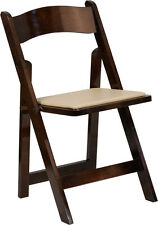 Hercules Series Fruitwood Wood Folding Chair With Vinyl Padded Seat New