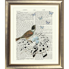 ART PRINT ON ORIGINAL ANTIQUE BOOK PAGE Bird Nest Music Vintage Upcycled Wall