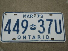 1973 ONTARIO CANADA License Plate 449 37U Can
