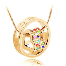 Fashion Jewelry Women Heart Mix Crystal Charm Pendant Chain Necklace Gold BD18