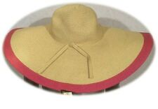 D&Y STRAW PINK SUPER WIDE BRIM FLOPPY FUN DERBY CHURCH BEACH WEDDING DRESS HAT