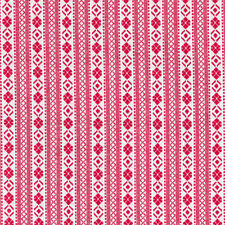 Cherry Red Woven Fairisle Stripe Fabric / Nordic folk vintage homespun Christmas