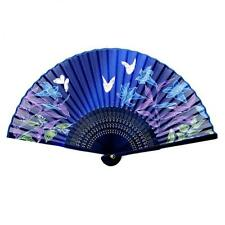 "SILK HAND FAN 8"" Blue Butterfly Lily Blossom HIGH QUALITY Folding Pocket Purse"