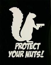 "PROTECT YOUR NUTS - White - 2"" Decal Sticker for Window Helmet Hardhat"