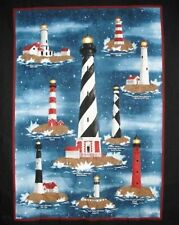 """Lighthouse """"Harbor Lights"""" Wall hanging Quilt Panel Fabric 100% cotton Nautical"""