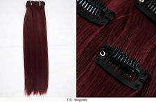 Recurlable Human Hair Mix Blend CLIP ON IN Extensions 10 pc - Yaki Straight 14""