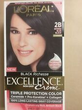 L'Oreal Excellence BLACK Richesse Hair Color# 2B Intense Blue Black / COOLER NEW
